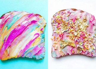Dwa tosty z tęczowym kremem na wierzchu