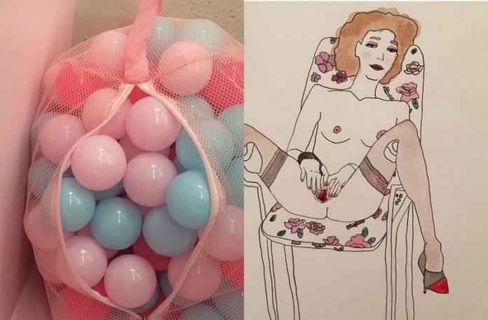 Zdjęcie balonów w worku, a obok grafika masturbującej się kobiety