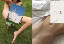 Dwa zdjęcia przedstawiające nagie kobiety z zakrytymi częściami intymnymi przez zdjęcia budynków i mapy