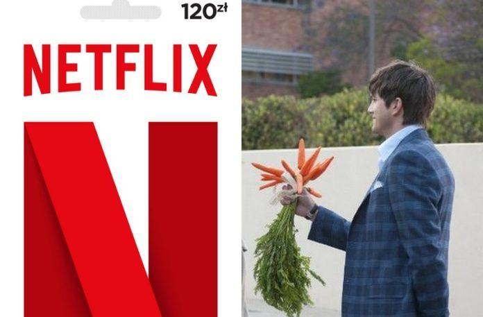 Karta podarunkowa Netflix, a obok mężczyzna z bukietem marchewek