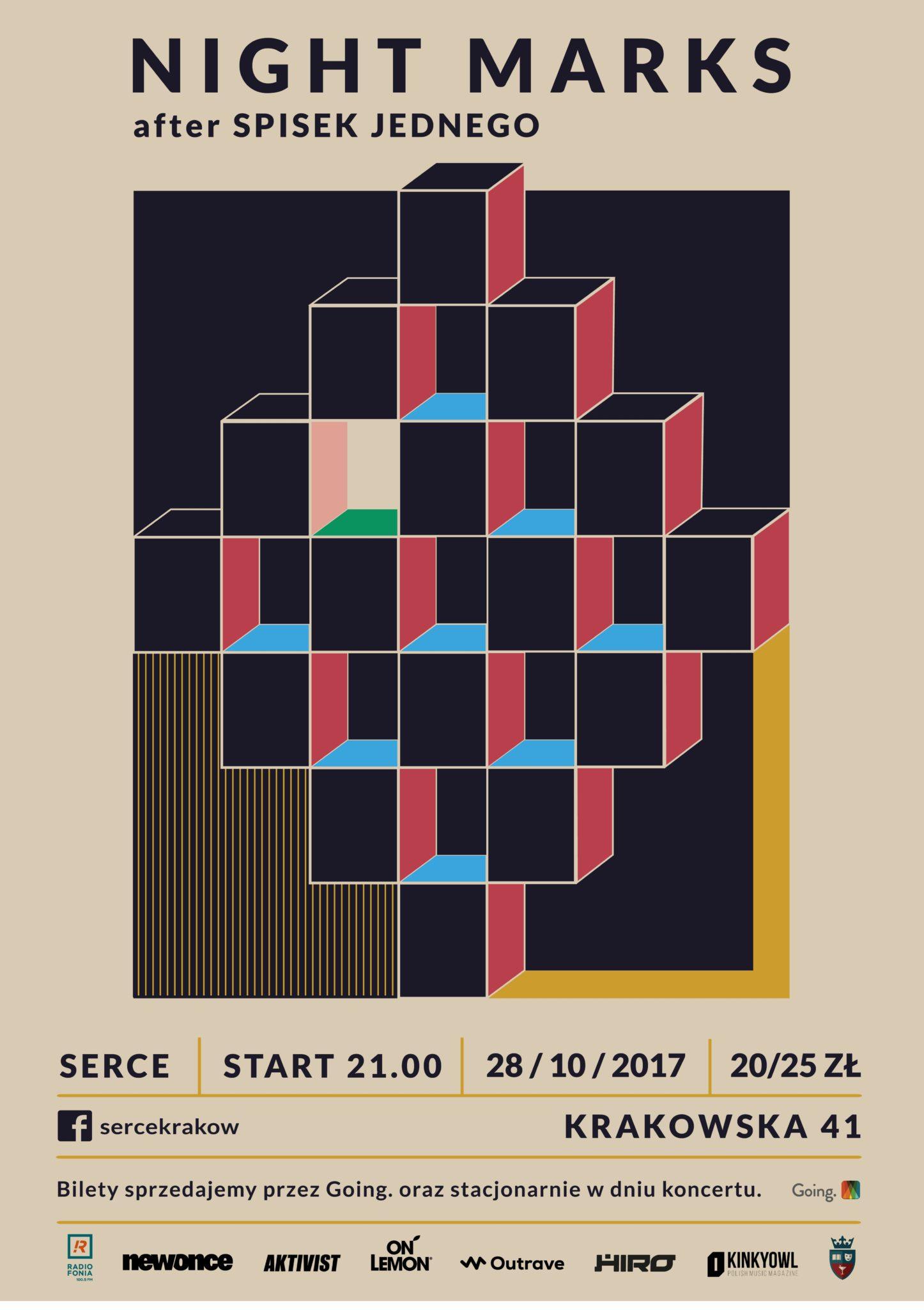 Plakat promujący koncert Night Marks w klubie Serce