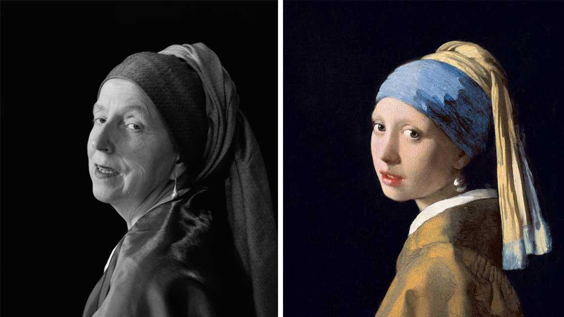 Porównanie obrazu Vermeera do zdjęcia Laury, które przedstawia to samo co na obrazie.