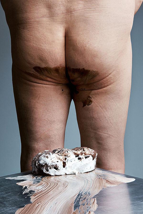 Tyłek ubrudzony tortem