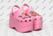 Różowe gumowe obuwie na wysokiej platformie