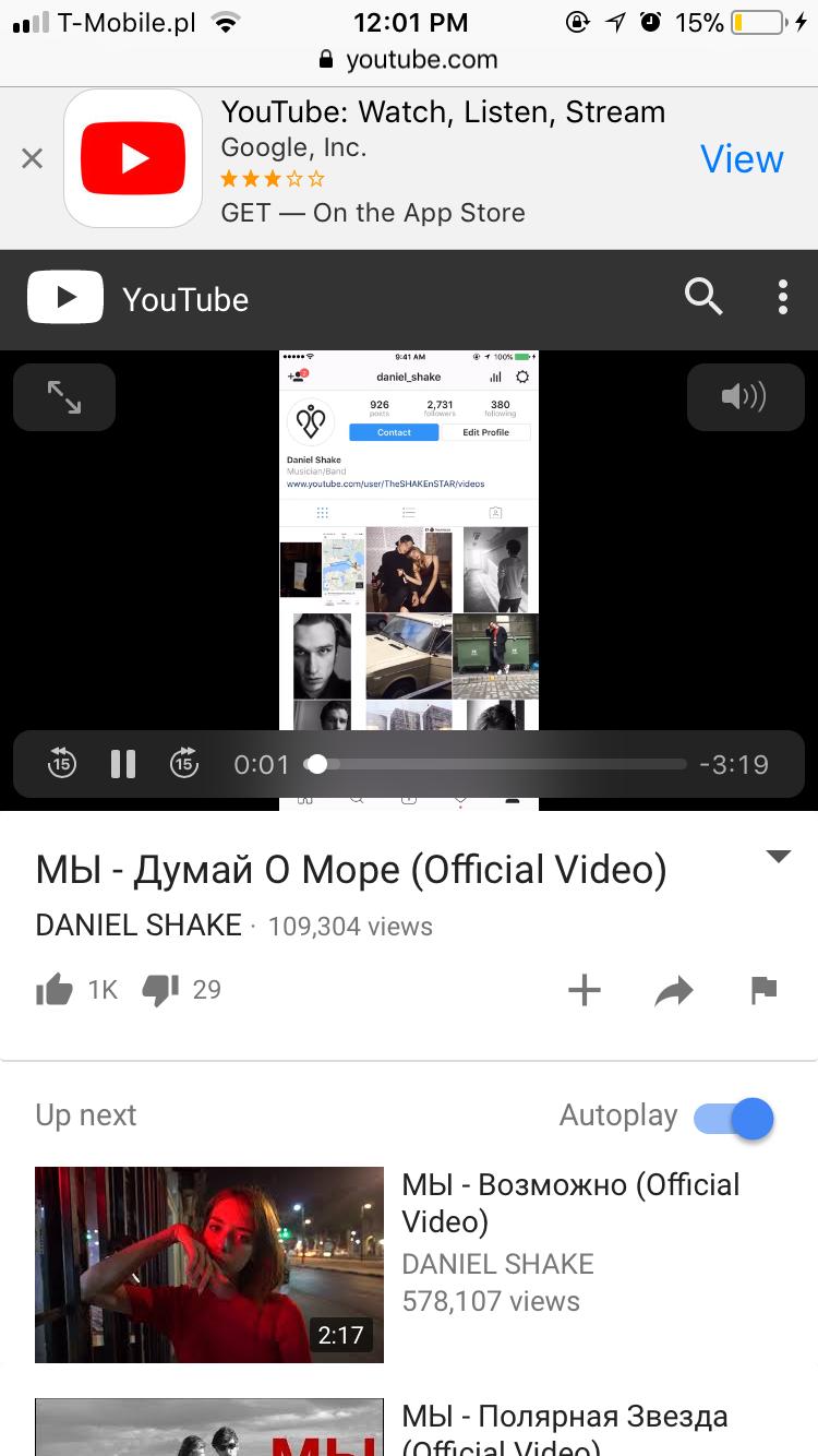 Zrzut ekranu z mobilnej wersji YT