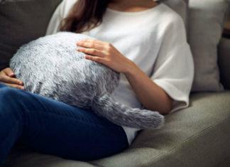 Kobieta trzymająca na sobie poduszkę wyglądająca jak kot