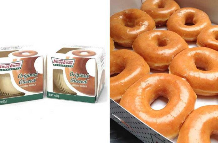 Dwa połączone zdjęcia: świeczka o zapachu pączków i pączki z dziurką