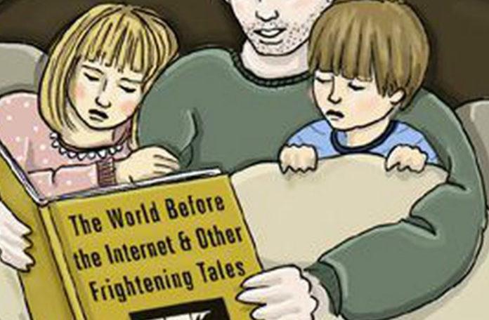 Grafika przedstawiająca ojca z dziećmi w łóżku czytającego książkę