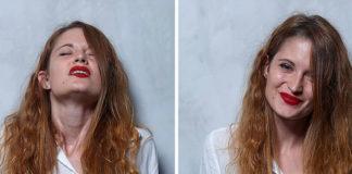 Dwa ujęcia rudowłosej kobiety w trakcie i po orgazmie