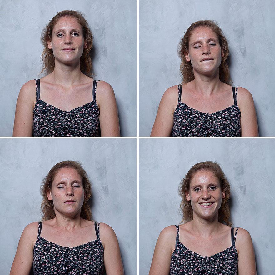 Cztery ujęcia kobiety przed, w trakcie i po orgazmie