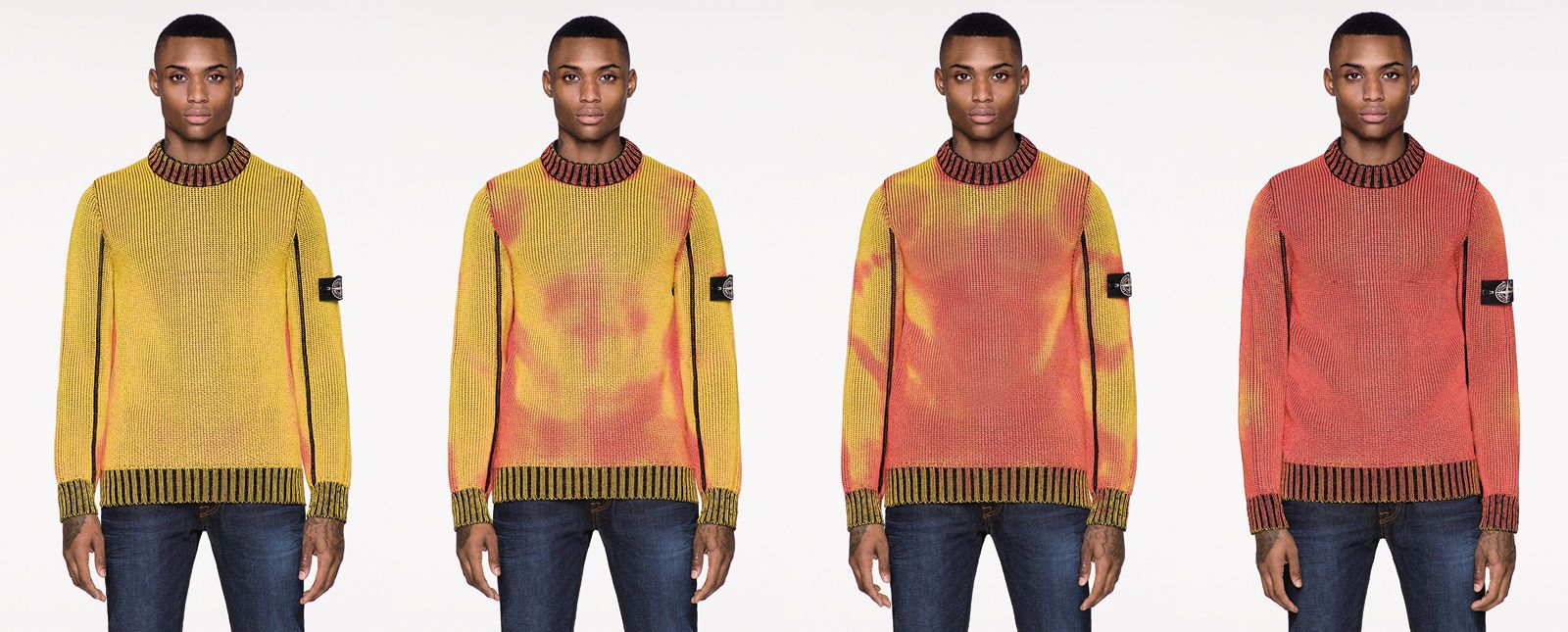 Prezentacja zmiany kolorów czułych na temperaturę swetrów.