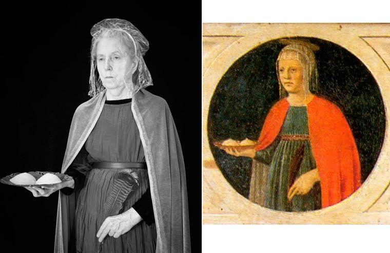 Porównanie obrazu z renesansu do zdjęcia Laury, które przedstawia to samo co na obrazie.