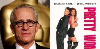 Zdjęcie siwego mężczyzny w okularach, obok plakat z filmu Pretty Woman