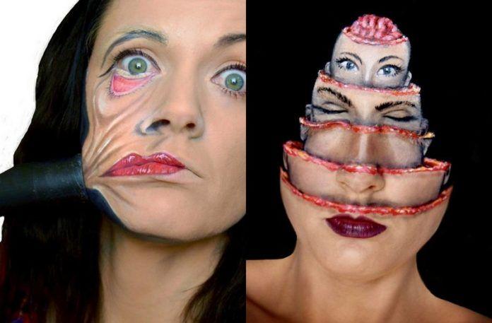 Dwa zdjęcia dziewczyny z upionym makijażem na Halloween