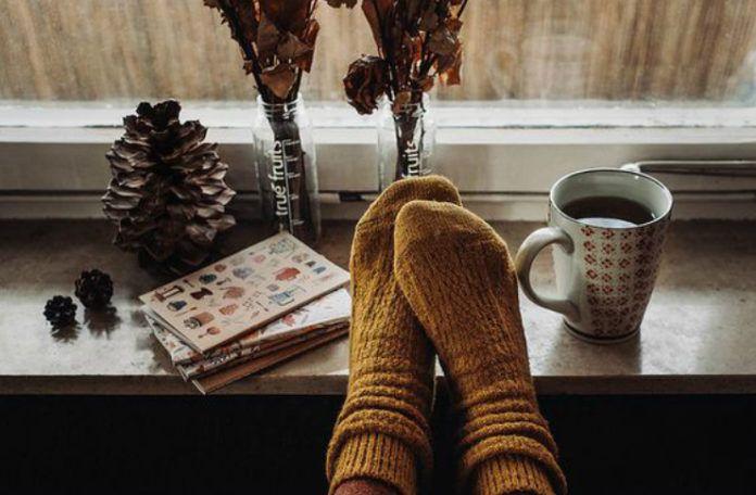 szyszki, książki, ciepłe musztardowe skarpetki i jesień za oknem