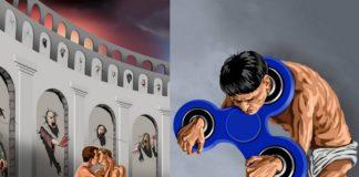 Dwie grafiki: jedna przedstawia całującą się homoseksualną parę, druga człowieka zakajdankowanego w fidget spinnera