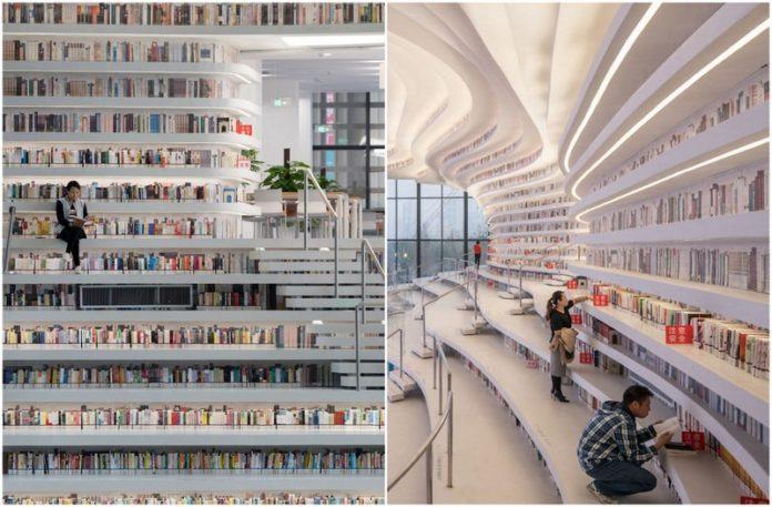 Wnętrze biblioteki w Chinach