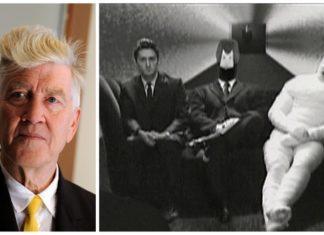 Siwy mężczyzna i kadr z carno-białej reklamyy