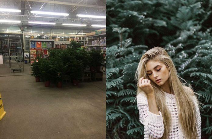 Krzaki stojące na środku sklepu i dziewczyna stojąca na tle zielonych gałązek