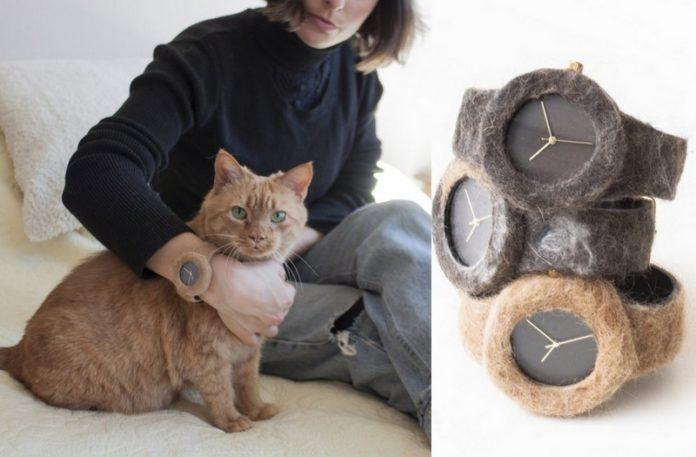Dziewczyna trzymająca kota, a obok trzy zegarki