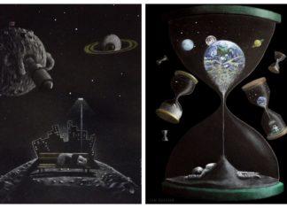 Ciemne ilustracje przedstawiające kosmos
