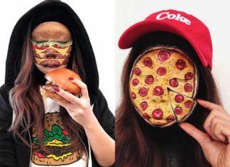 Dziewczyna z dwoma makijażami: pizza i hamburger