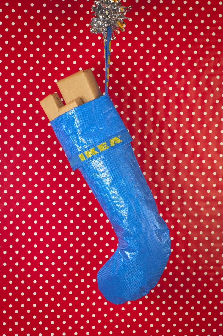 Skarpeta świąteczna zrobiona z torby IKEA