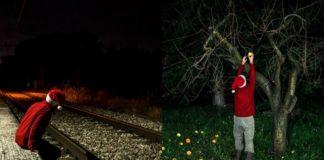 Dwóch Mikołajów w ciemnej przestrzeni