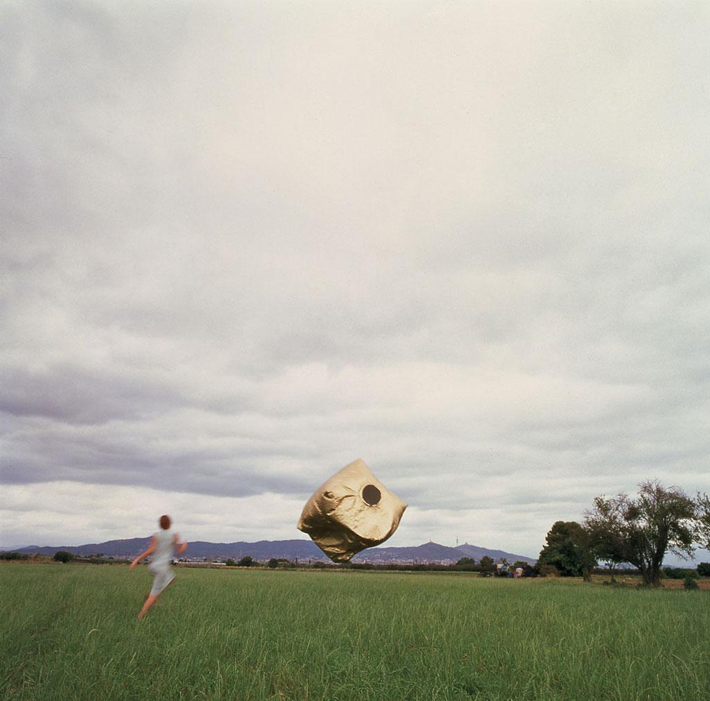 Złota kostka unosząca się nad zieloną łąką i goniąca ją kobieta