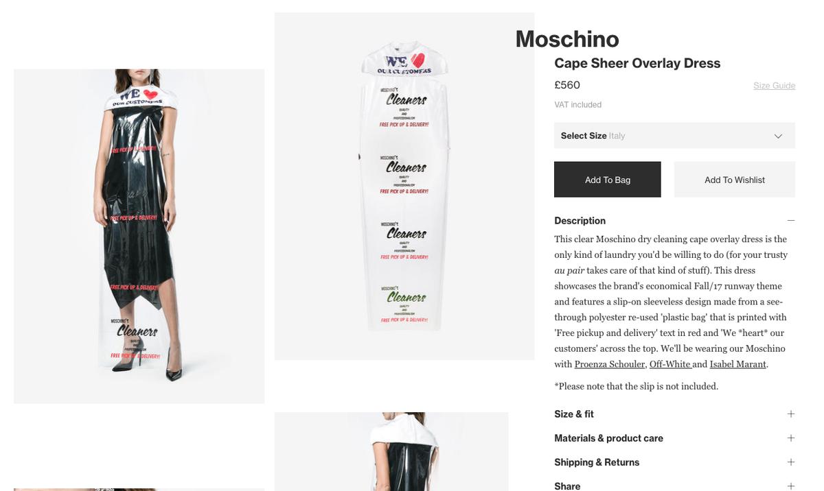 Screenshot ze sklepu Moschino