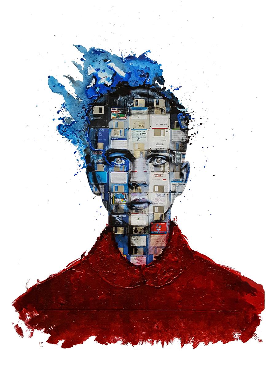 Obraz młodego chłopaka stworzony z małych miniatur dyskietek.