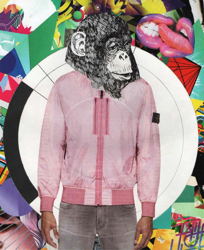 Obraz mężczyzny z głową małpy.