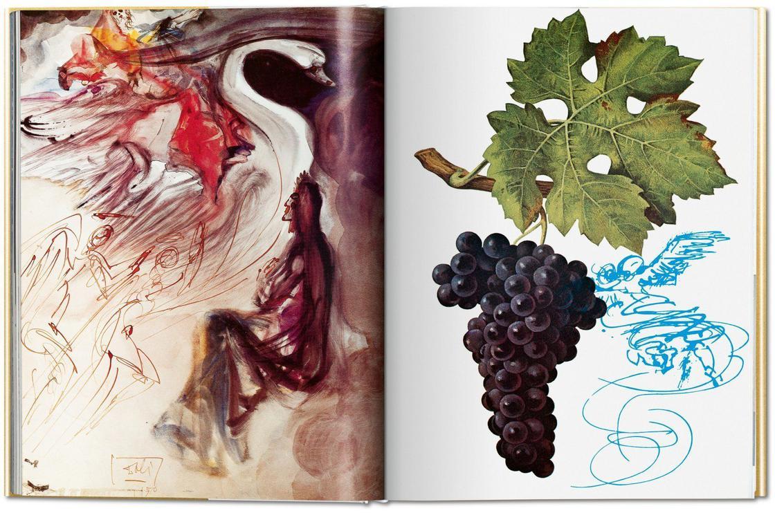Dwie strony z książki o winach Salvadora Dalego