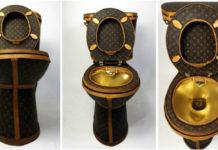 Złota toaleta z logotypami Louis Vuitton