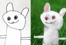 Rysunek białego królika, a obok królik przeniesiony do rzeczywistości