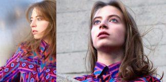 Dwa zdjęcia dziewczyny ubranej w kolorową bluzkę, patrząca w dal