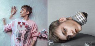 Chłopak leżący na ziemi w rozowej bluzie z wyciętą dziurą na wylot, a obok głowa chłopaka jako żarówka