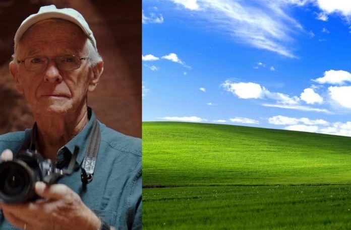 Starszy mężczyzna z aparatem, a obok zdjęcie łąki