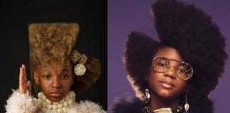 Dwa zdjęcia przedstawiające dwie dziewczynki z afro na głowie