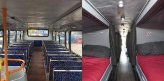 Wnętrze busa z siedzeniami, a obok tego samego busa z łóżkami
