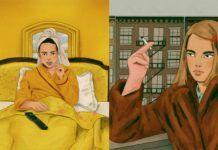 Dwie grafiki przedstawiające postacie z filmów Wes Andersona