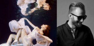 Dziewczyna zanurzona w wodzie i czarno-białe zdjęcie mezczyzny w czarnej koszuli