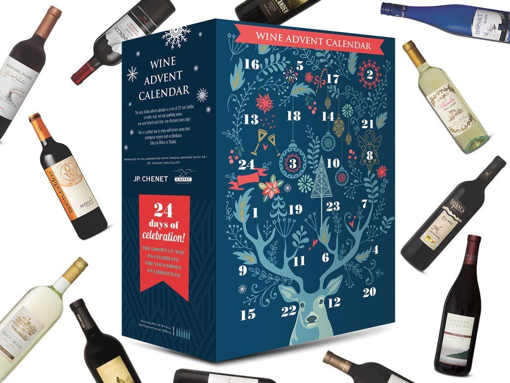 Kalendarz Adwentowy z butelkami wina