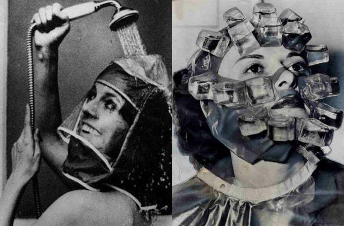 Czarno-białe zdjęcia przedstawiajace dziwne wynalazki