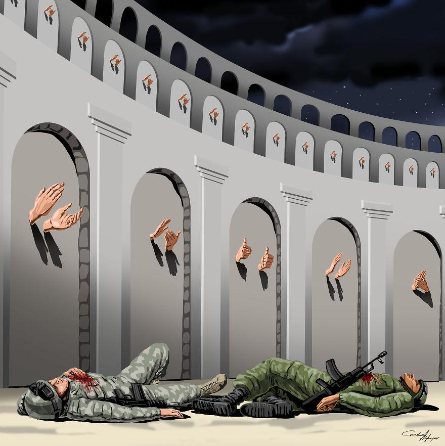 Polegli zołnierze i klaszczące dłonie