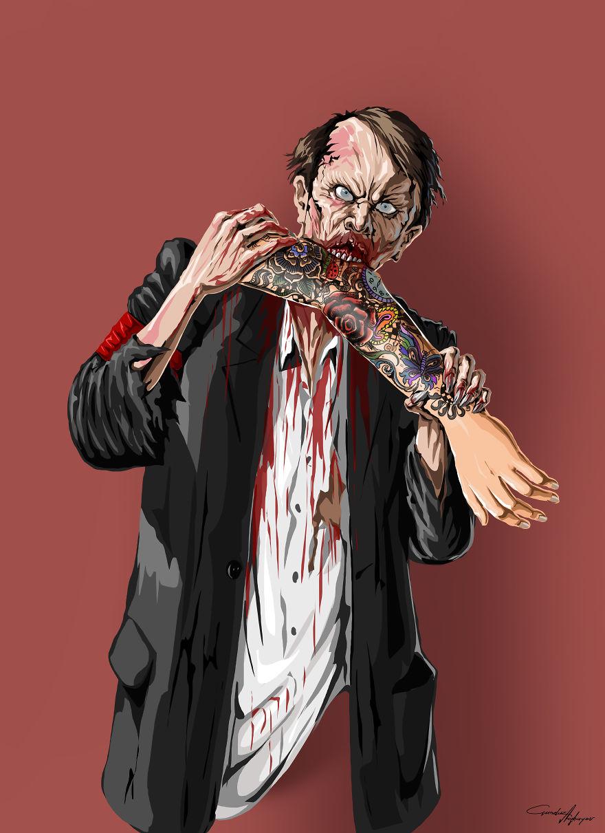 Postac wyglądająca jak Zombie gryzie ludzką rękę