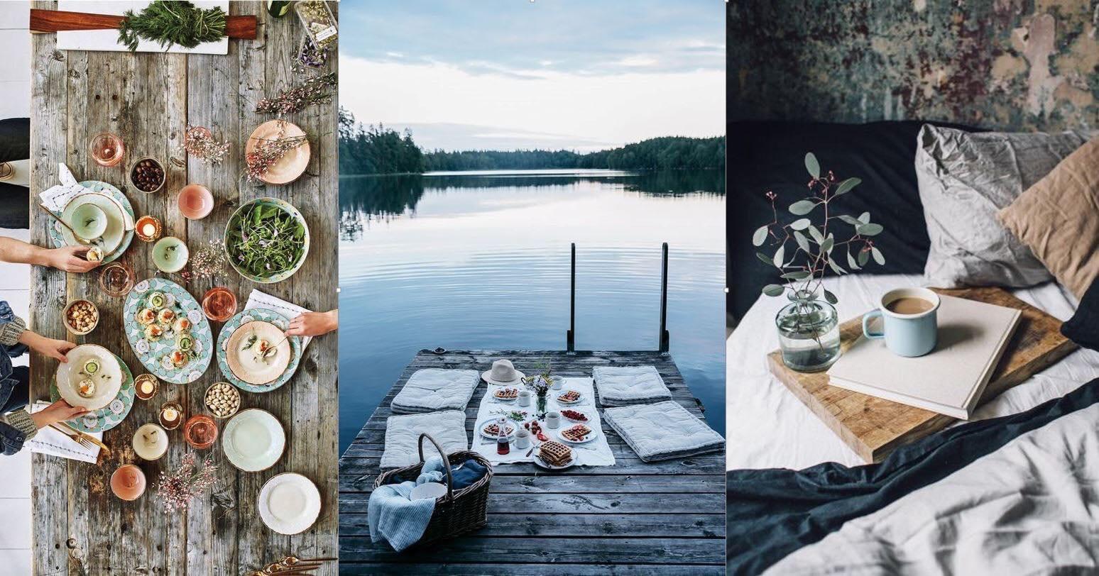 kolaz przedstawiajacy 3 zdjecia,pierwsze to stol zastawiony jedzeniem, drugie, pomost na ktorym jest urzadzony piknik, a trzecie kubek z kawa, lozko i koc