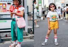 Japońska dziewczynka ubrana w modne stylizacje