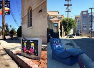 Porzucony na ulicy telewizor i fotel z domalowanymi smutnymi minami