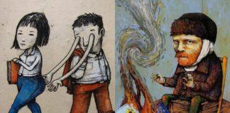 Dwie ilustracje przedstawiające problemy nazsego społeczeństwa